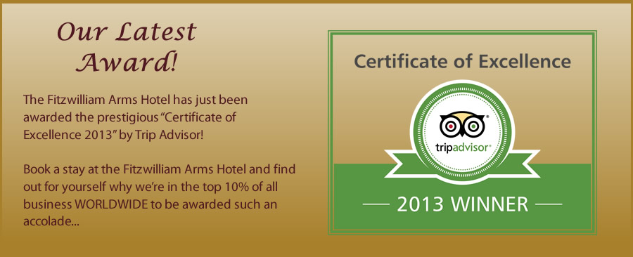 Fitzwilliam Arms Hotel awarded Certificate of Excellence 2013